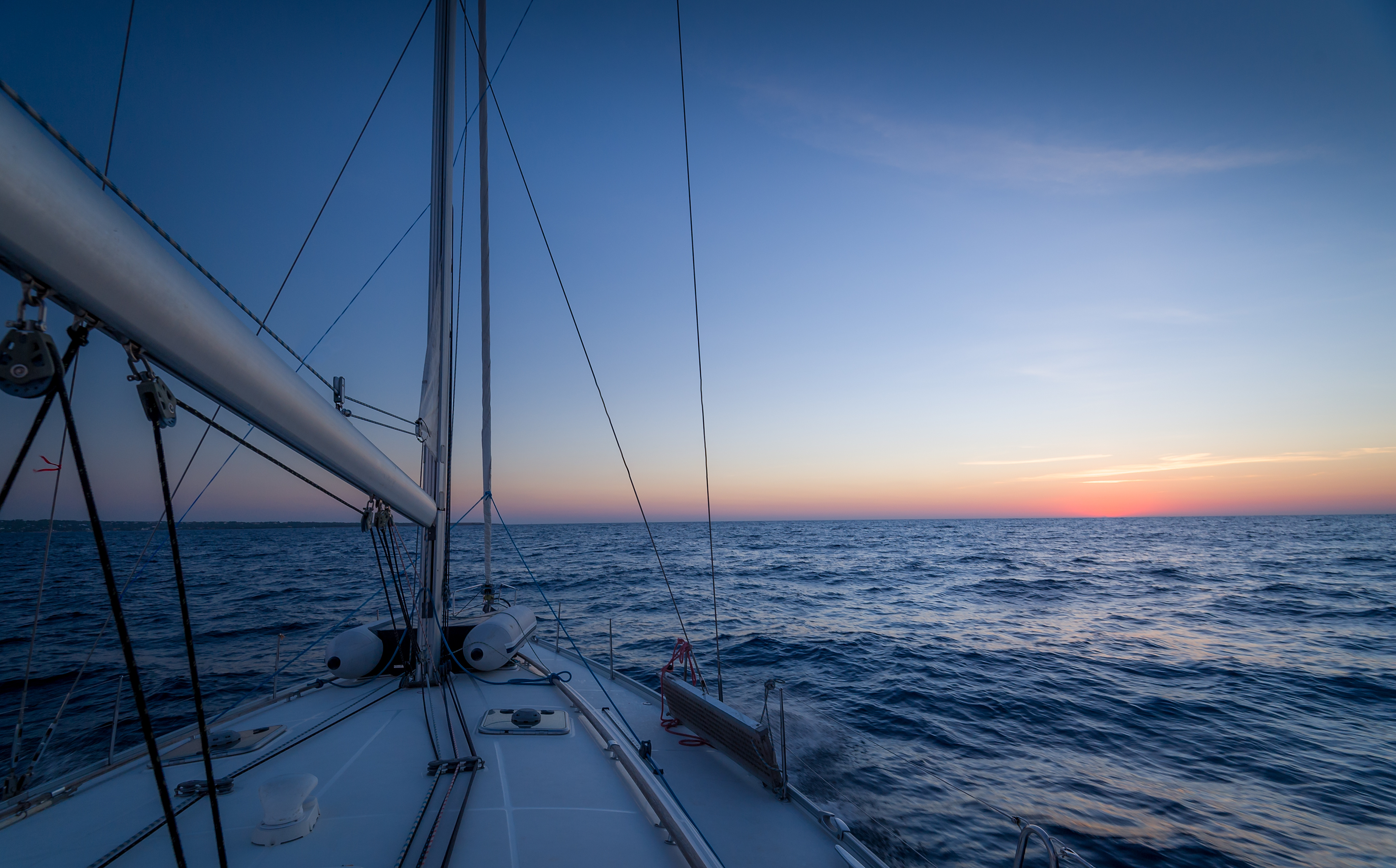 Sailing at sunset in Greece