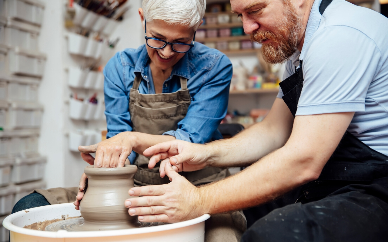 Experiential employee rewards pottery class