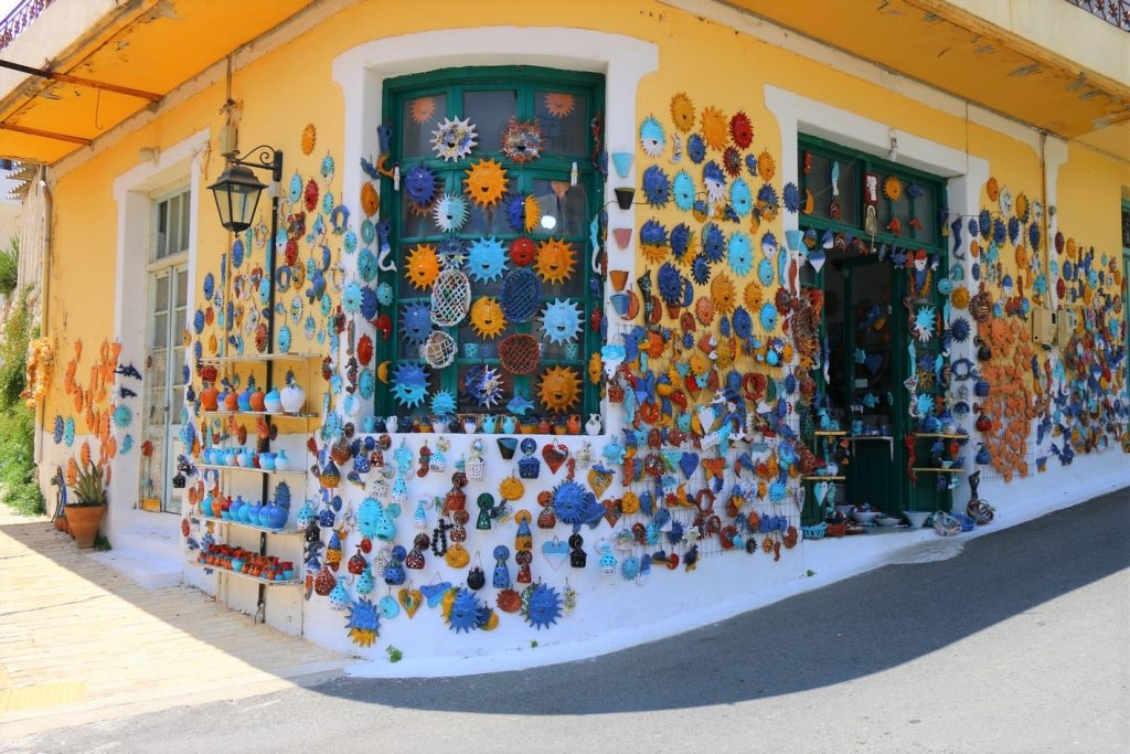 Outside view of pottery shop at Rethymno