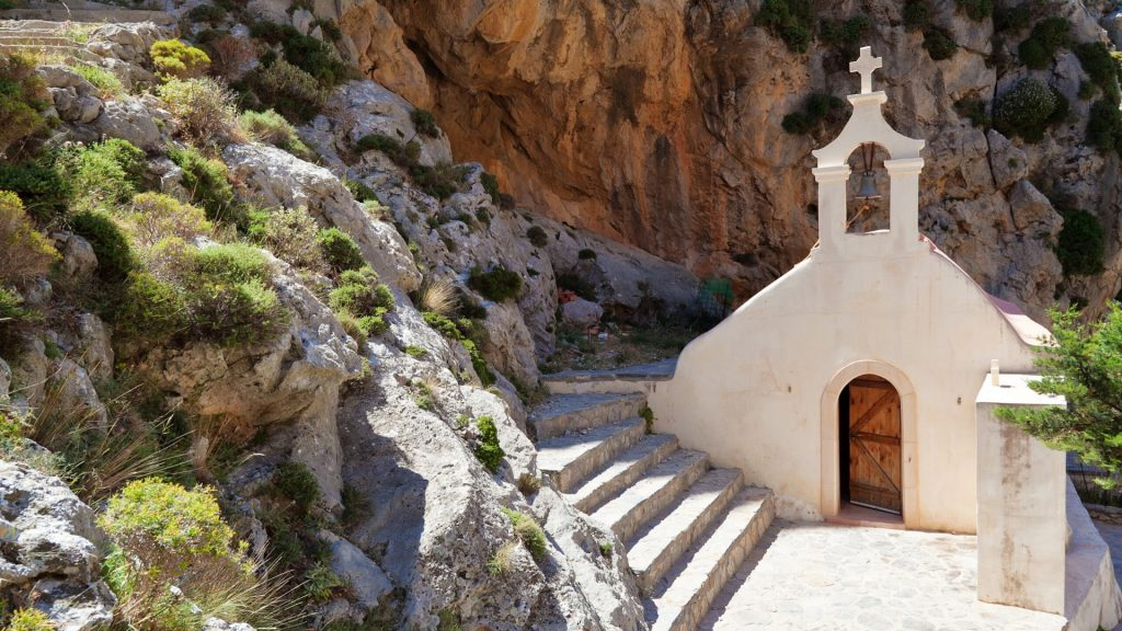 Chapel on rocky mountain in Crete
