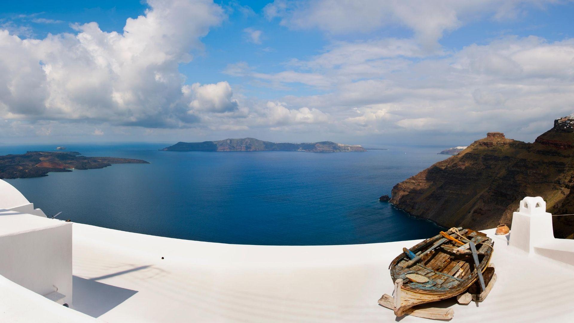 Best Santorini boat trips & Santorini cruises 2020 - View with boat