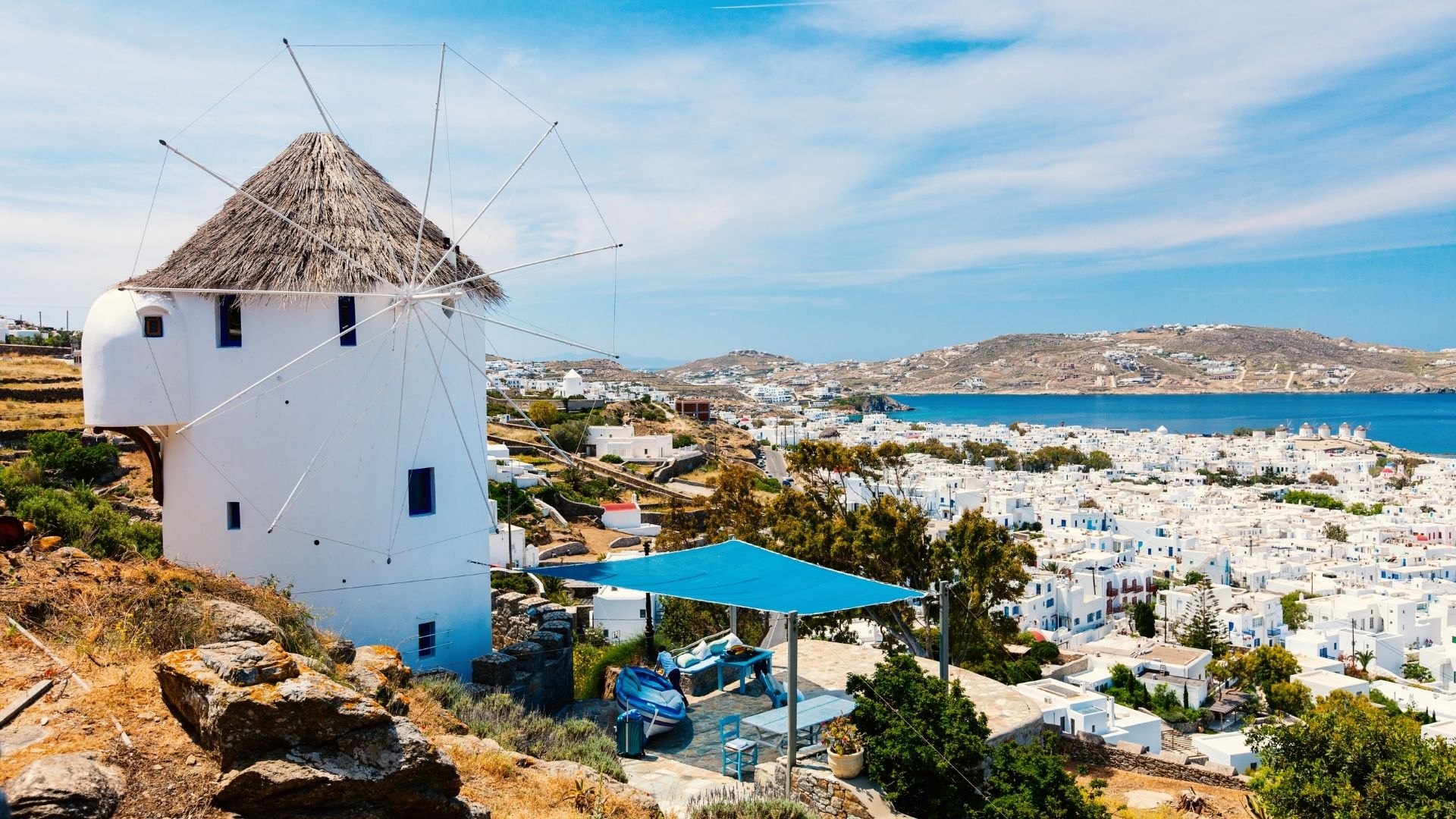 Mykonos Mill with views of the town