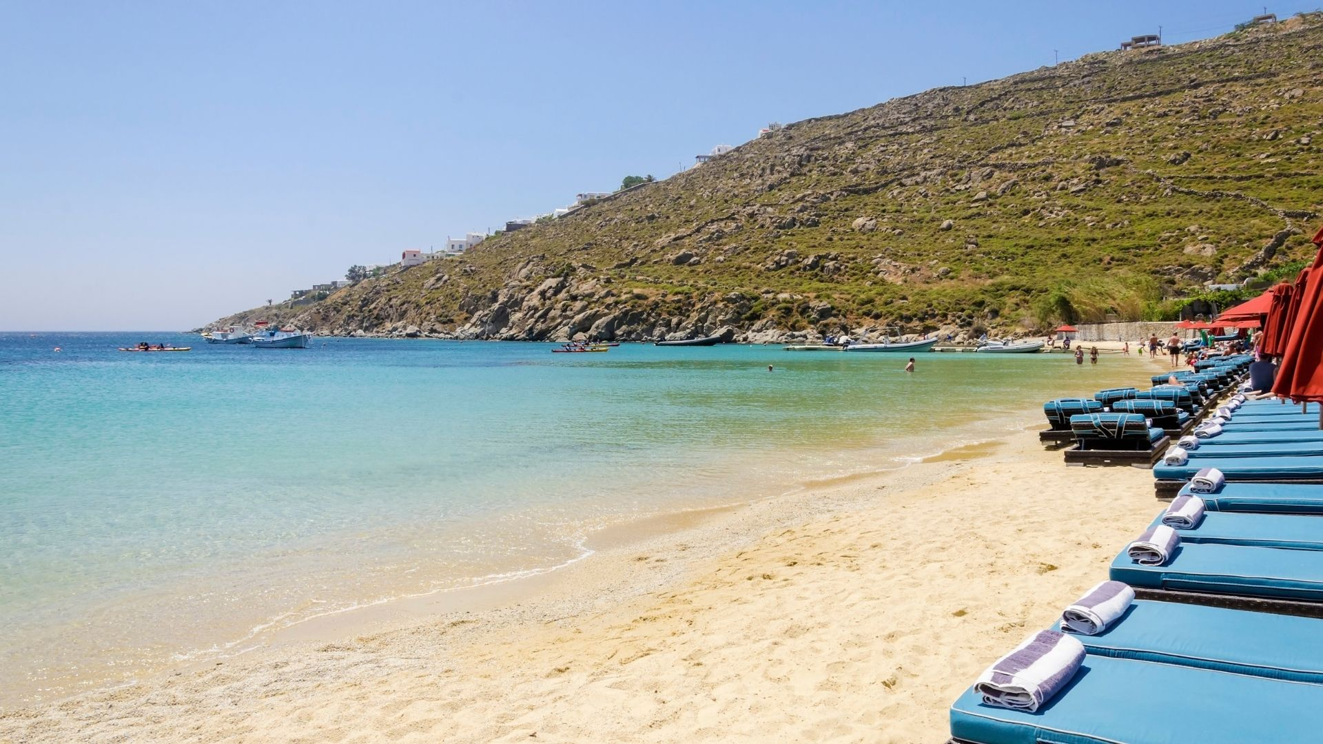 The popular ,among celebrities beach, Psarou