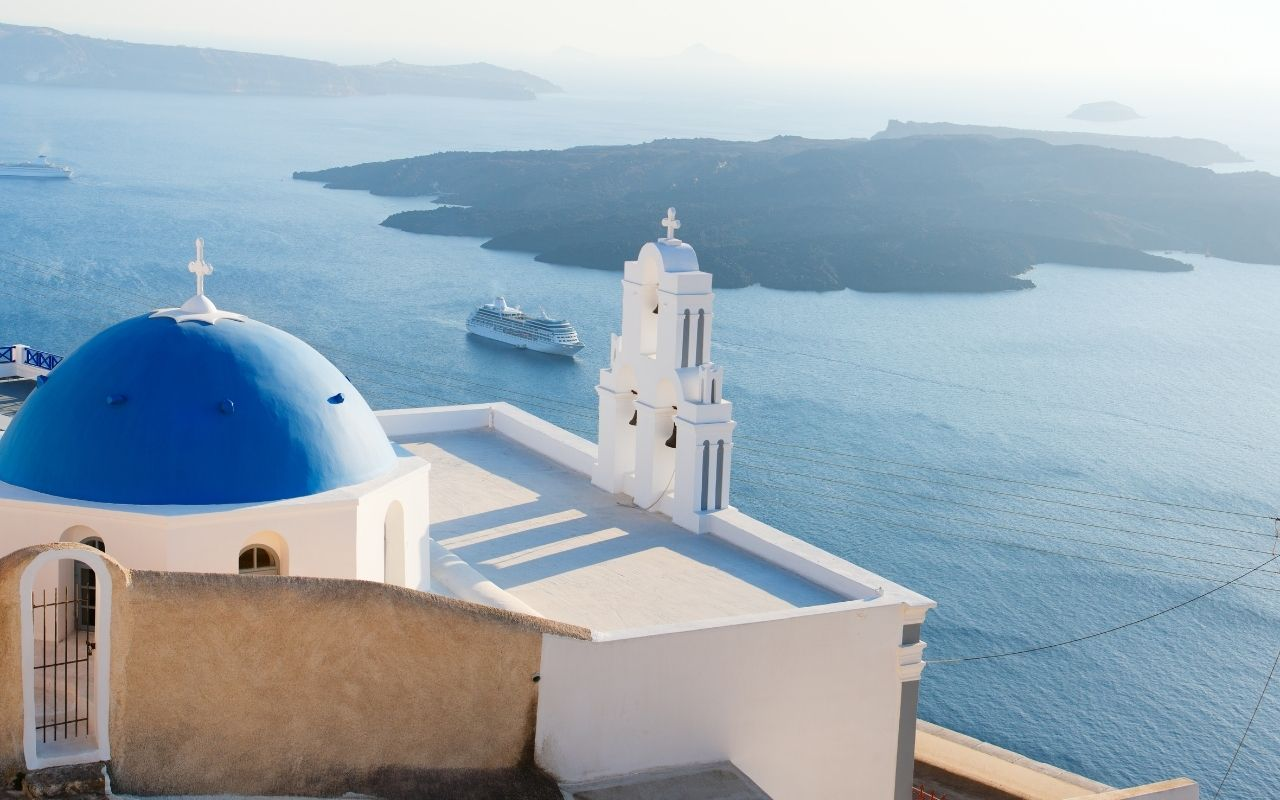 The blue dome church in Santorini