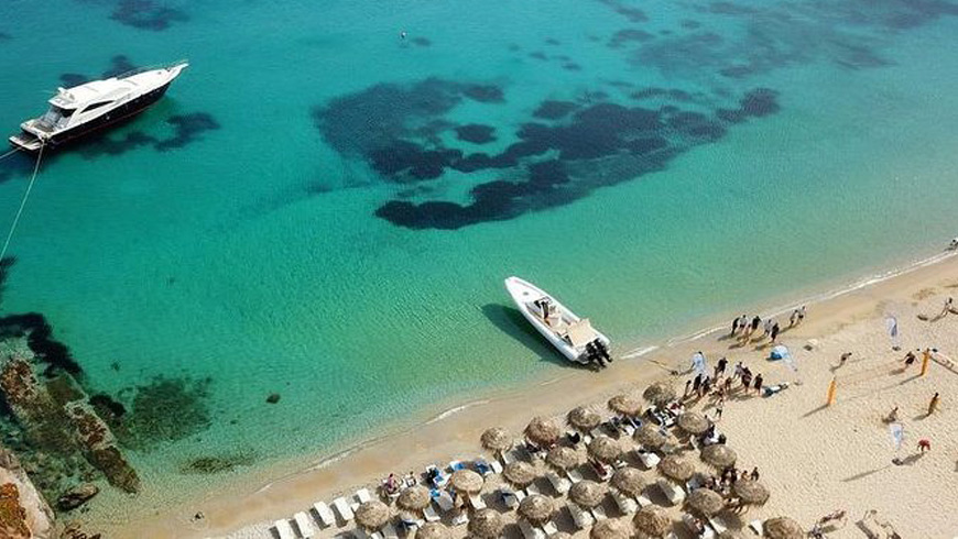 Mykonos catamaran sailing cruise to South beaches, Greece